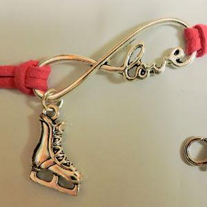 Pink bracelet w/Infinite Love Charm & Ice Skate